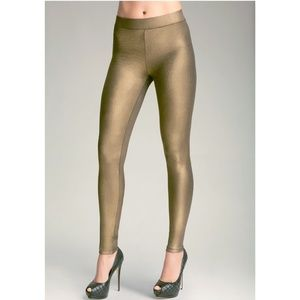 BEBE Antique Gold Metallic Shimmer Leggings Medium